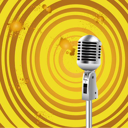 Retro Microphone Grunge Old Styled background for Karaoke Parties