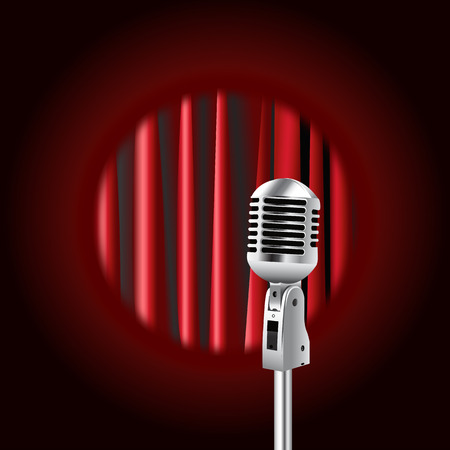 Retro Microphone realistic Against red curtain background