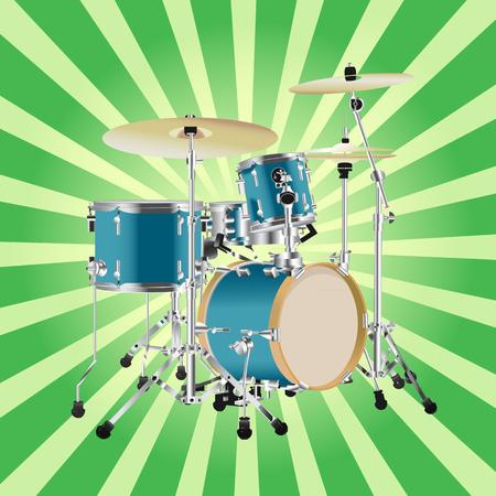 Realistic Drum kit illustration on Rays Background.