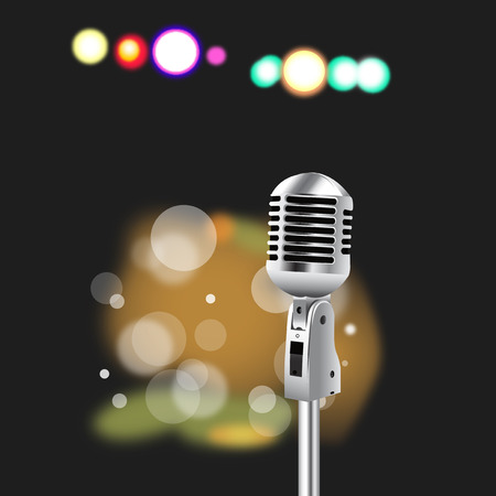 Retro Microphone on abstract  Spotlight background for Karaoke Parties
