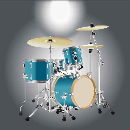 Realistic Drum kit isolated on a Gray background