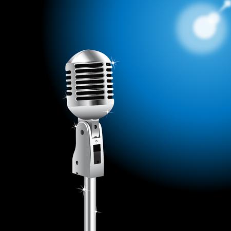 Retro Microphone on a Blue Spotlight background Ilustração