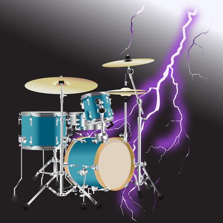 Realistic Drum kit with Realistic lightning on black background Ilustração