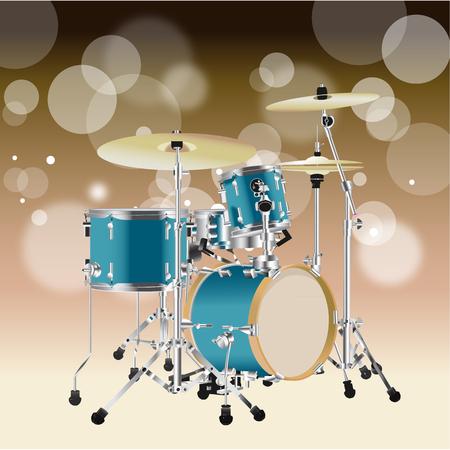 Realistische Drumkit geïsoleerd op een Tan-stijl achtergrond Stock Illustratie