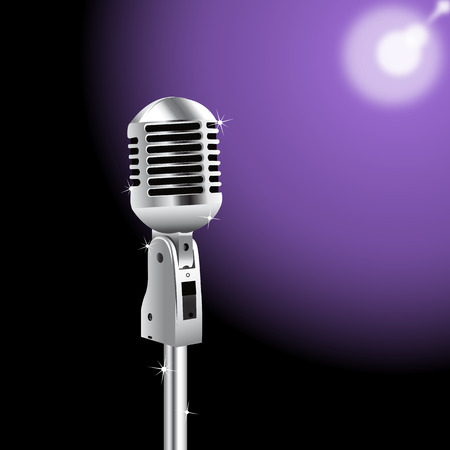 Retro Microphone on a purple Spotlight background