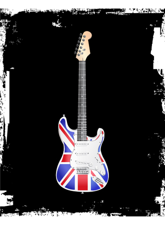 British Rock and Roll Electric Guitar Vector illustration. Ilustração