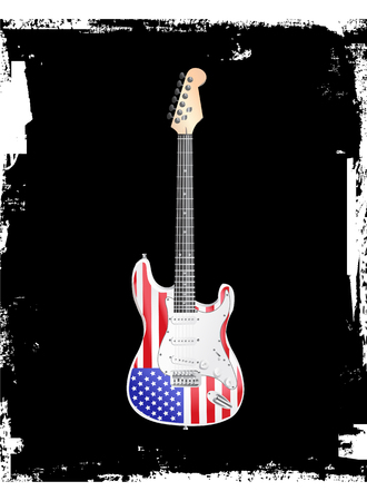 American Rock and Roll Electric Guitar Vector illustration.
