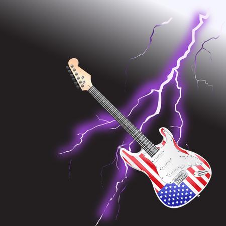 American Rock and Roll Guitar with Realistic lightning on black background Ilustração
