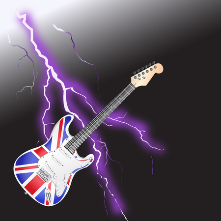 British Rock and Roll Guitar with Realistic lightning on black background