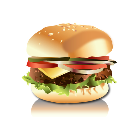 Hamburger realistic isolated on white background vector illustration