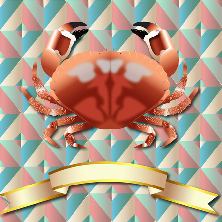 Crab realistic Triangle Symmetry Vintage background Sea Food and Gold ribbon