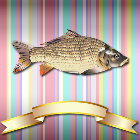 Fish realistic Striped Colorful Vintage background Sea Food and Gold ribbon