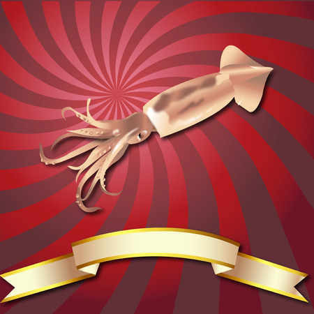 Squid realistic Rays background Sea Food and Gold ribbon