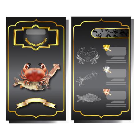 Menu Sea food set on black blackground design vector Ilustração