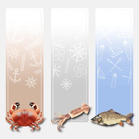 Vertical Banners Sea food set of Design vector 2 Ilustração