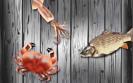 Sea food Icons set on Wood Black Blackground Design vector
