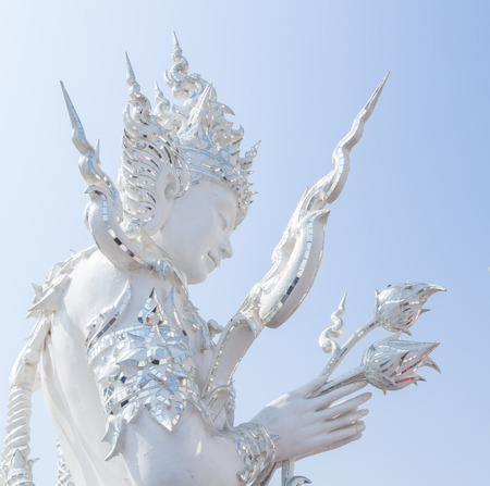 The white god pay respect at Wat rongkhun in Thailand photo