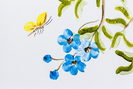 mural: Mural painting about butterfly and flower on the wall for decoration 2 Stock Photo