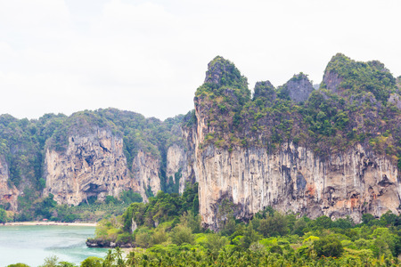 railay: Cliff at view point of Railay. Krabi in Thailand Stock Photo