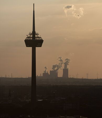 sunset dusk ambient at Colonius telecommunications tower viewing platform cologne germany