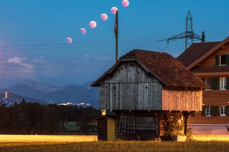 lunar eclipse trail red moon breathtaking scenery in rural place lucerne switzerland