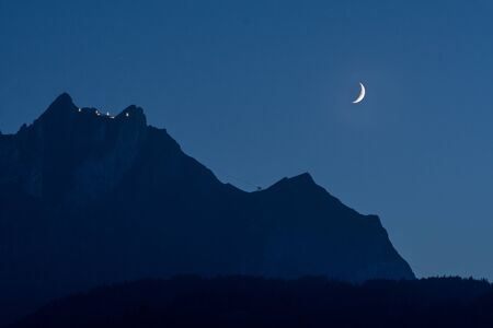 astonishing moon shot silhouette of mount pilatus view from horw switzerland