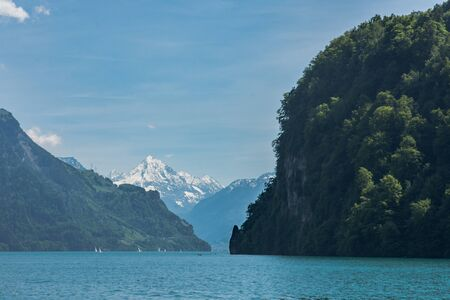 Nas in Ennetbuergen and Vitznau narrow passage channel on lake lucerne switzerland Banco de Imagens
