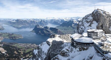 panoramic view from mount pilatus on sunny winter day in lucerne switzerland
