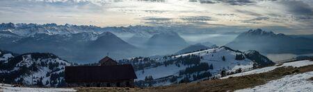wonderful panoramic view from rigi into swiss snowy alps switzerland