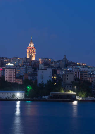 famous outlook tower in istanbul night photography summer