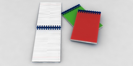 Red and green pads on a white background photo