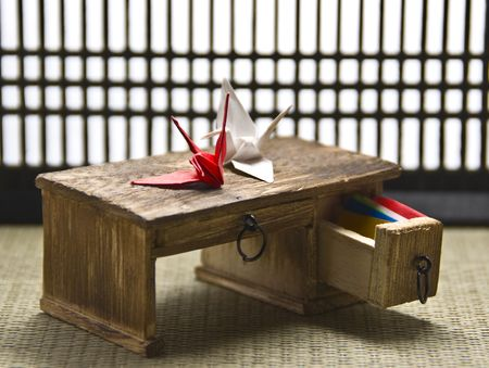 Origami Desk in a Traditional Japanese Tatami Room: miniature Stock Photo