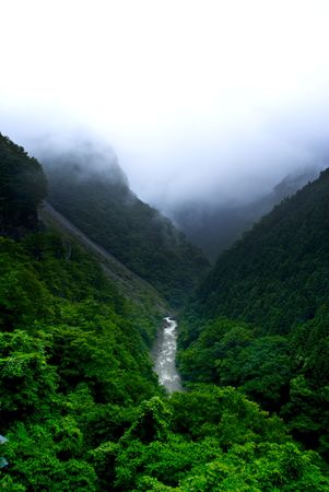 Japanese Mountain Valley River Stock Photo