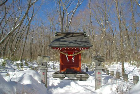 shinto: Small Shinto Shrine in Snow Stock Photo