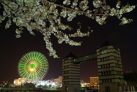 Yokohama in Spring at Night: Minatomirai.