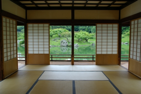 Traditional Japanese Tatami Room Stock Photo