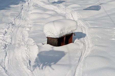 snowfalls: Roof covered by snow after heavy snowfalls