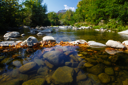 range of motion: Dam from stones covered with yellow leaves on the mountain river Stock Photo