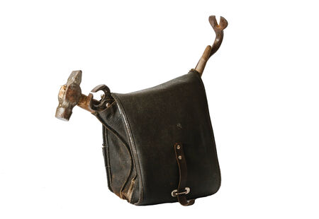 leather bag: Old leather bag with tools