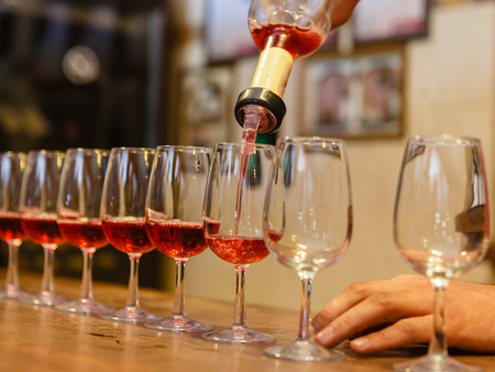 event: Process of tasting of wine at factory on production of grape wine