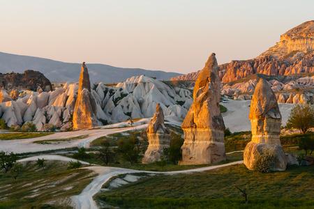 Sunset in a valley in Cappadocia, Turkey