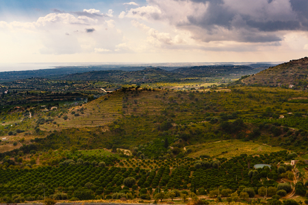 Arial view  on the Sicilian landscape near the city of Avola, Italy