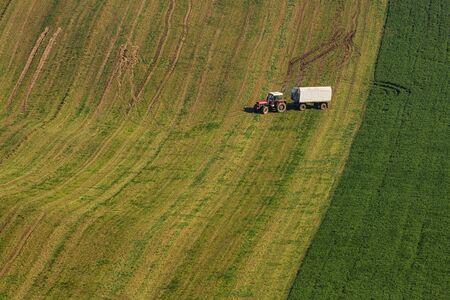 Fields on Moravian hills illuminated by the autumn sun