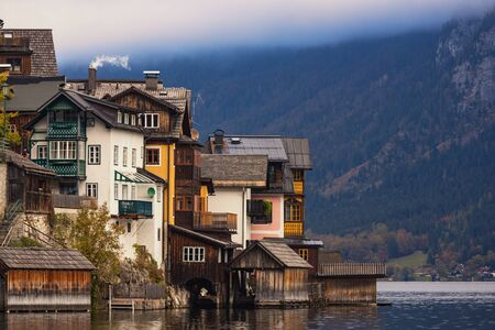 View of the lake and the city of Hallstatt in fall season