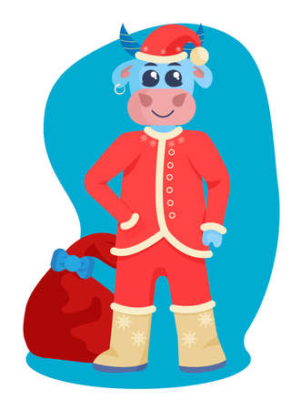 Funny bull in a hat with gift bag. New year vector illustration in flat style.