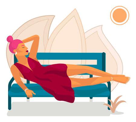 Woman in red dress sunbathing under bright sun. It is vector illustration. Vetores