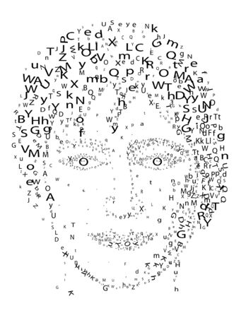 Abstract stylized portrait made from letters
