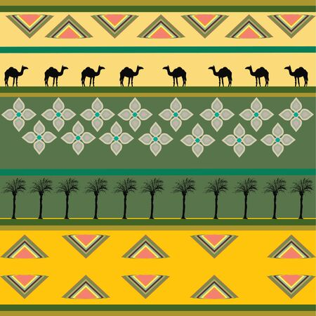 Ethnic African design with camels and Palm-trees silhouettes