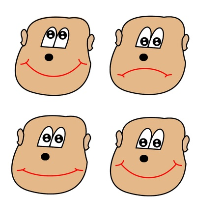 Four different faces with different expressions Illustration