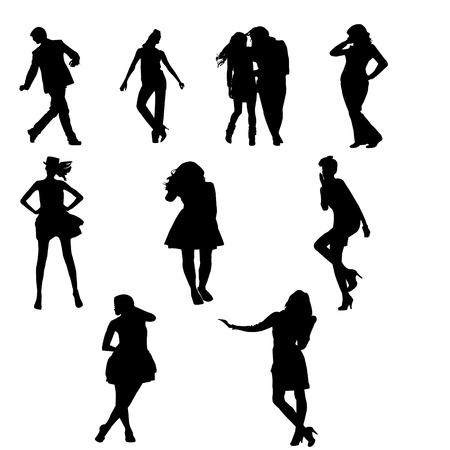 personas festejando: Siluetas de personas j�venes que celebraban y de pie